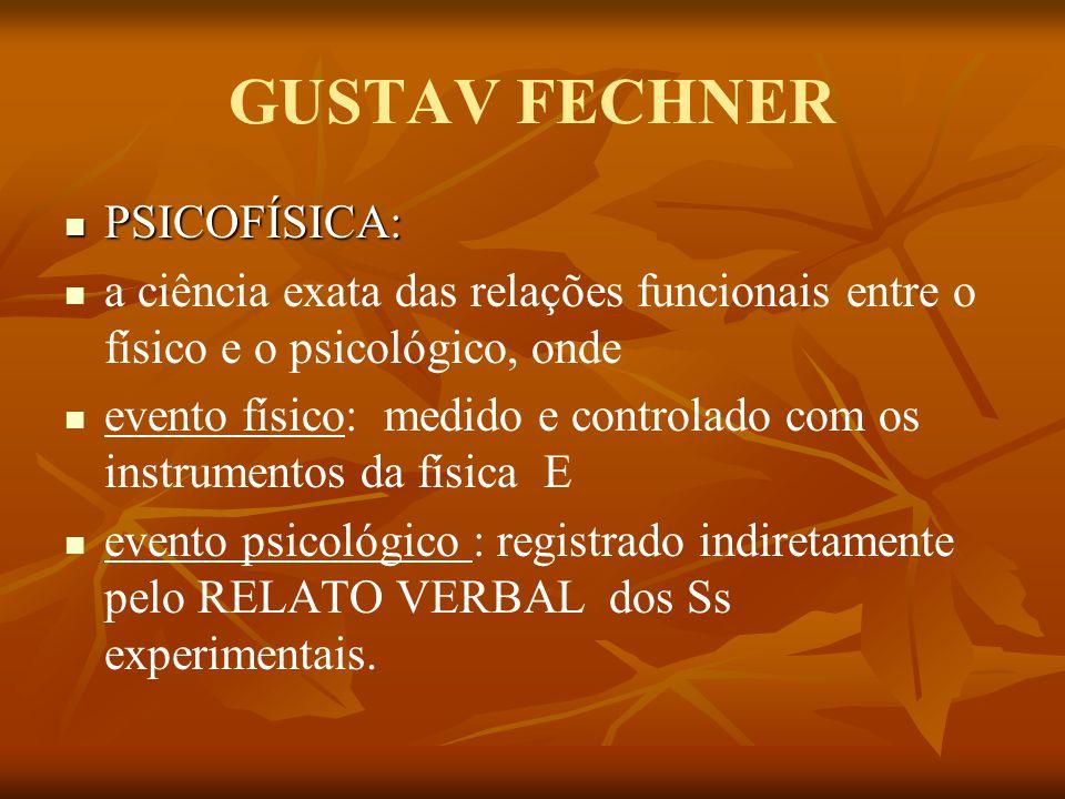 GUSTAV FECHNER PSICOFÍSICA: PSICOFÍSICA: a ciência exata das relações funcionais entre o físico e o psicológico, onde evento físico: medido e controla
