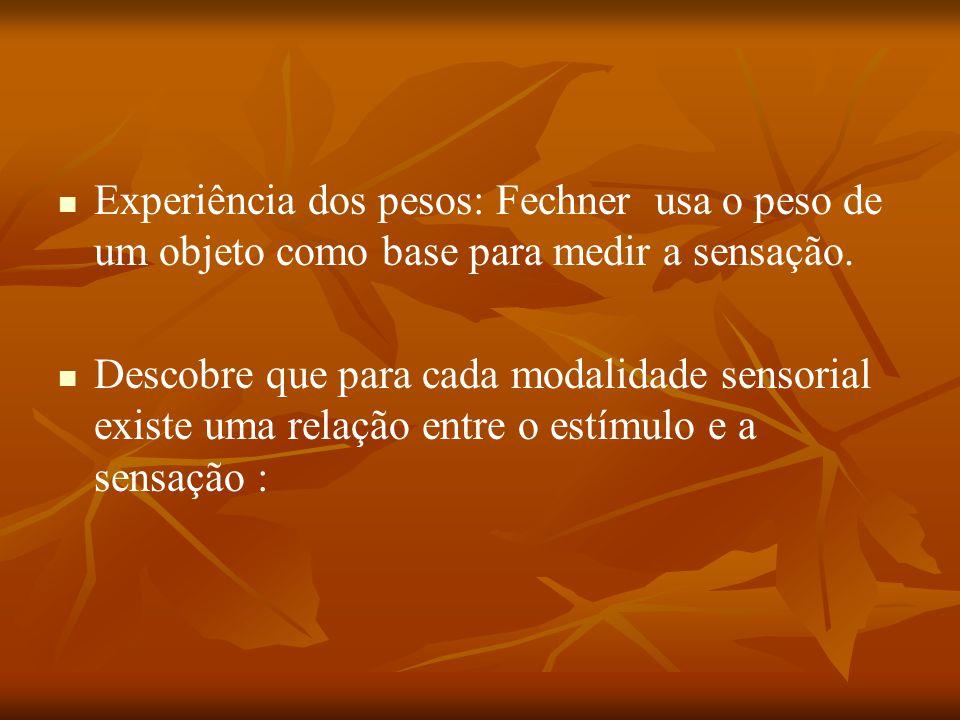 Experiência dos pesos: Fechner usa o peso de um objeto como base para medir a sensação. Descobre que para cada modalidade sensorial existe uma relação