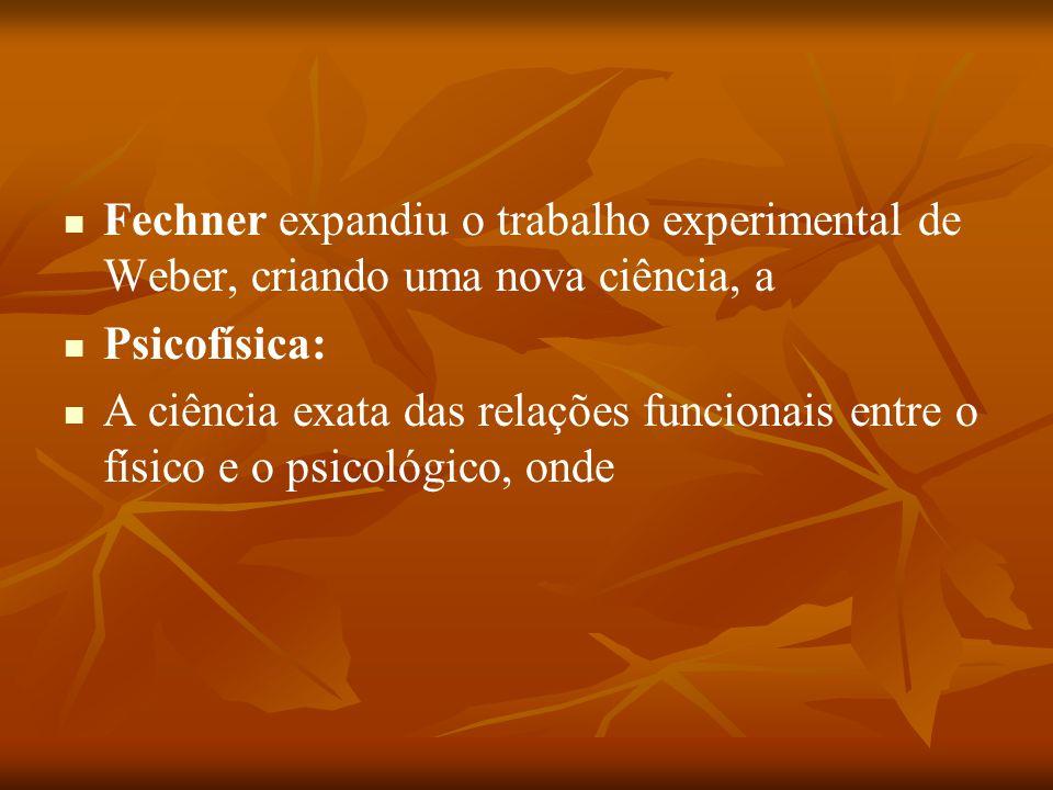 Fechner expandiu o trabalho experimental de Weber, criando uma nova ciência, a Psicofísica: A ciência exata das relações funcionais entre o físico e o