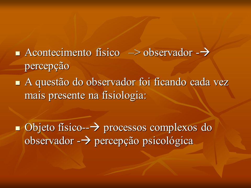 Acontecimento físico –> observador -  percepção Acontecimento físico –> observador -  percepção A questão do observador foi ficando cada vez mais pr