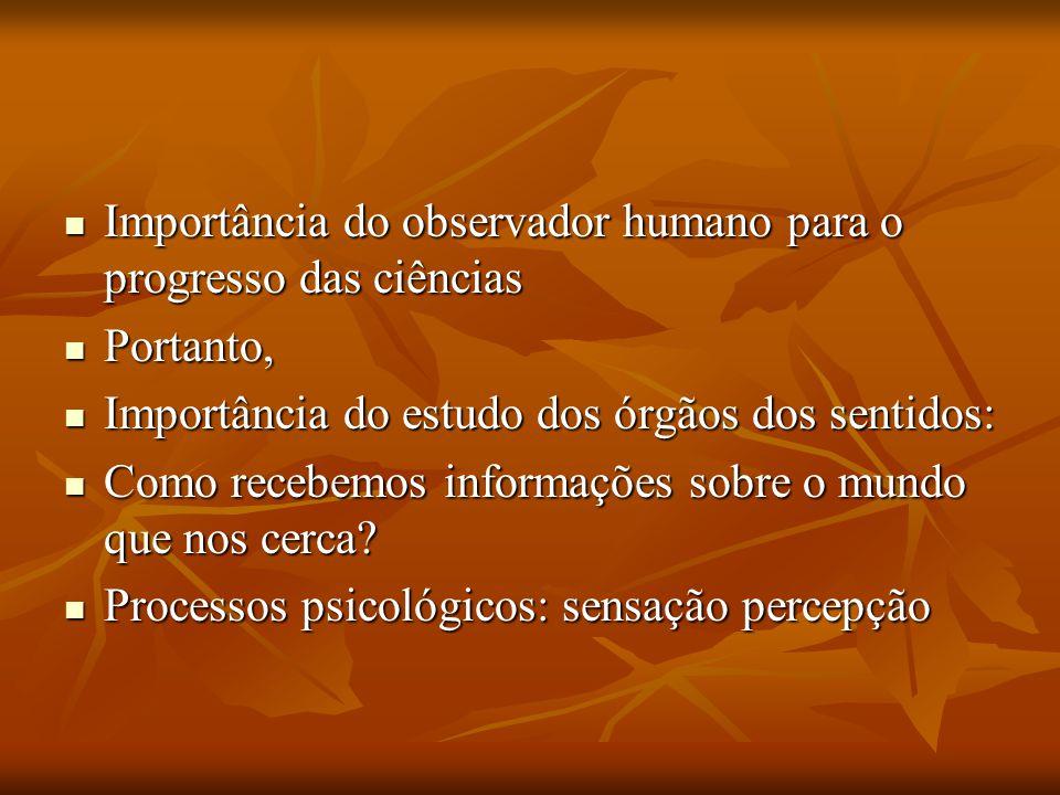 Importância do observador humano para o progresso das ciências Importância do observador humano para o progresso das ciências Portanto, Portanto, Impo
