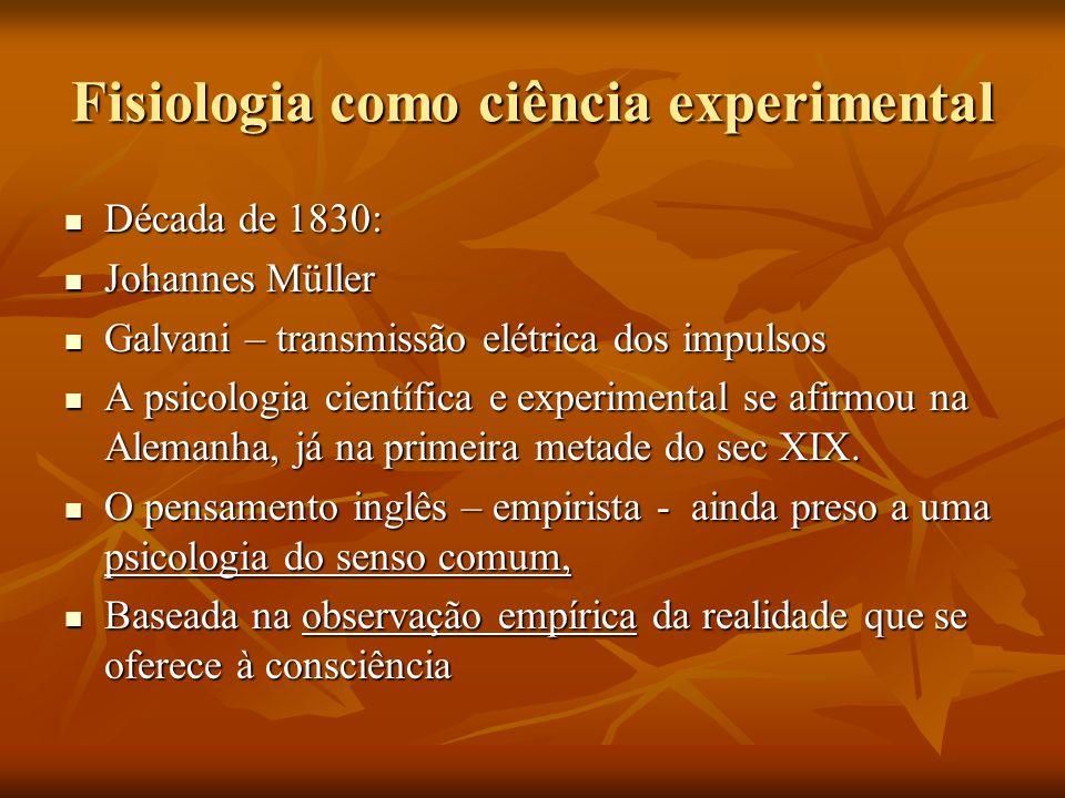 Os alemães tentaram fazer algo de novo em matéria de psicologia: Os alemães tentaram fazer algo de novo em matéria de psicologia: Johannes Muller ( 1801-1858) -método experimental à Fisiologia -teoria da energia específica dos nervos : cada nervo teria sua energia específica Isto é, se cada nervo tem uma energia específica, interesse por: -pesquisas sobre localização de funções cerebrais/ mecanismos de recepção sensorial