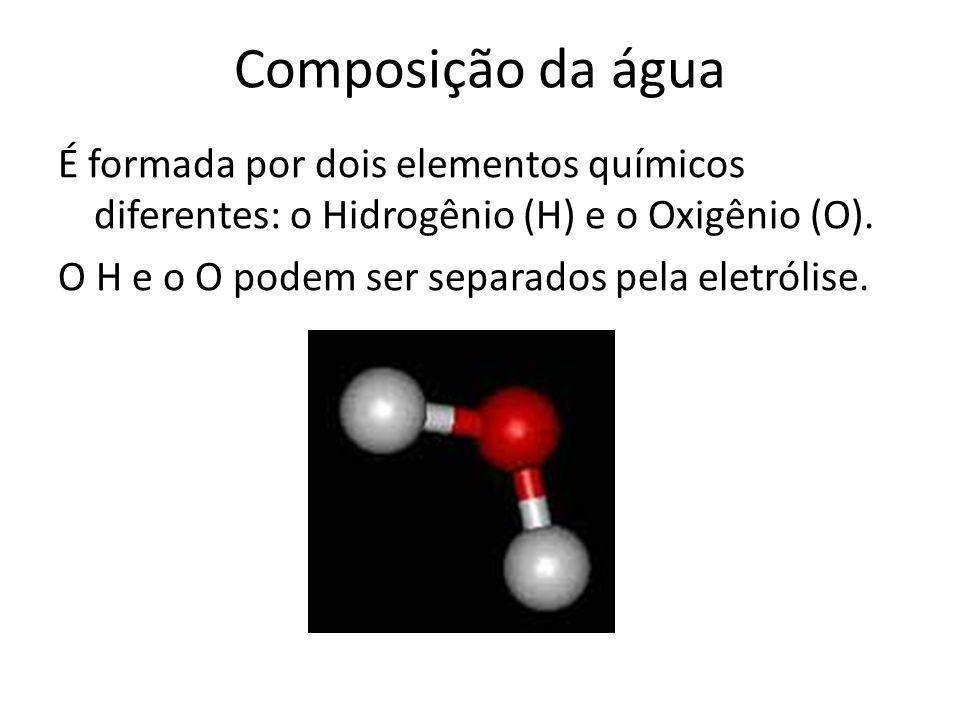 Composição da água É formada por dois elementos químicos diferentes: o Hidrogênio (H) e o Oxigênio (O). O H e o O podem ser separados pela eletrólise.