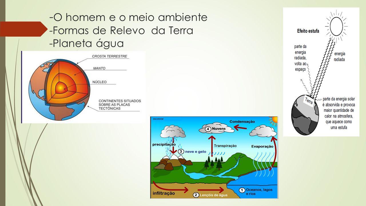 - O homem e o meio ambiente -Formas de Relevo da Terra -Planeta água