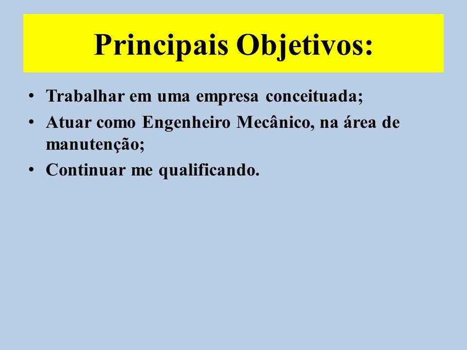 Principais Objetivos: Trabalhar em uma empresa conceituada; Atuar como Engenheiro Mecânico, na área de manutenção; Continuar me qualificando.