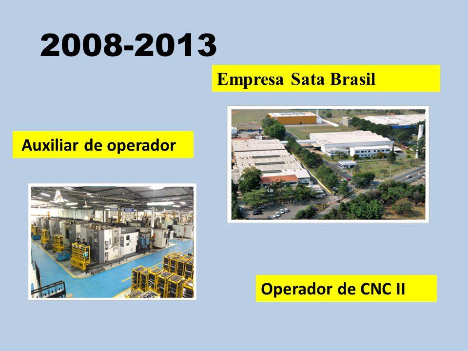 2008-2013 Empresa Sata Brasil Auxiliar de operador Operador de CNC II