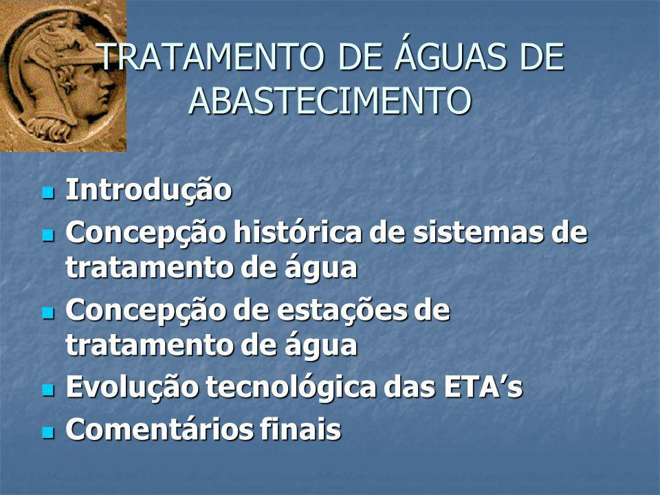 COMPORTAMENTO DE ETA's EM RELAÇÃO A QUALIDADE DA ÁGUA COMPORTAMENTO DE ETA's EM RELAÇÃO A QUALIDADE DA ÁGUA CONCEPÇÃO HISTÓRICA DE SISTEMAS DE TRATAMENTO DE ÁGUA Qualidade Tempo Água Bruta Padrão de Potabilidade Água Final 1804 – Construção e operação dos primeiros filtros lentos em areia para tratamento de água para abastecimento público em Paisley (Escócia) 1804 – Construção e operação dos primeiros filtros lentos em areia para tratamento de água para abastecimento público em Paisley (Escócia) 1807 – A cidade de Glasgow (Escócia) foi uma das primeiras a distribuir água tratada por meio de tubulações 1807 – A cidade de Glasgow (Escócia) foi uma das primeiras a distribuir água tratada por meio de tubulações