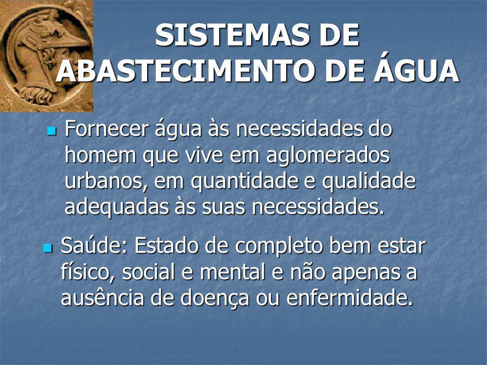 SISTEMAS DE ABASTECIMENTO DE ÁGUA Fornecer água às necessidades do homem que vive em aglomerados urbanos, em quantidade e qualidade adequadas às suas