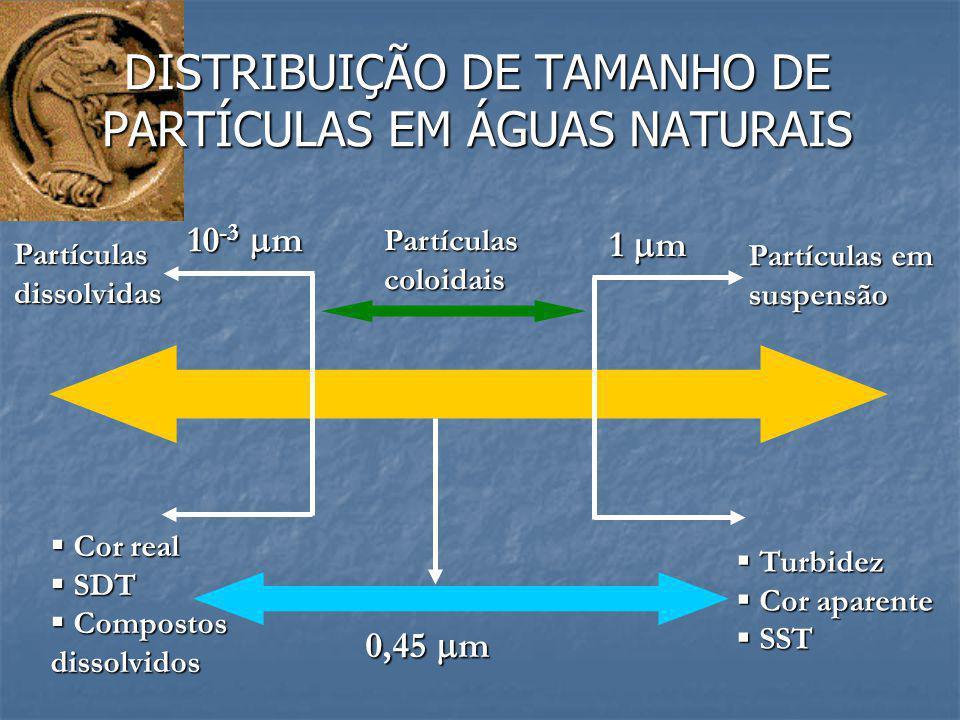 DISTRIBUIÇÃO DE TAMANHO DE PARTÍCULAS EM ÁGUAS NATURAIS 1  m 10 -3  m Partículascoloidais Partículas em suspensão Partículasdissolvidas  Turbidez 