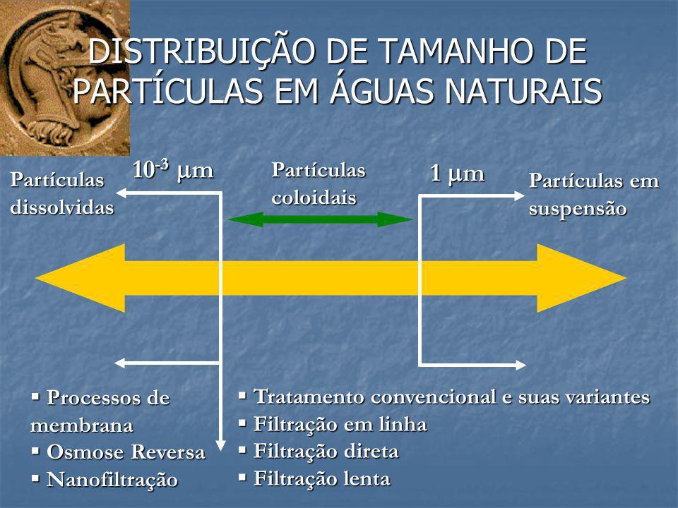 DISTRIBUIÇÃO DE TAMANHO DE PARTÍCULAS EM ÁGUAS NATURAIS 1  m 10 -3  m Partículascoloidais Partículas em suspensão Partículasdissolvidas  Tratamento