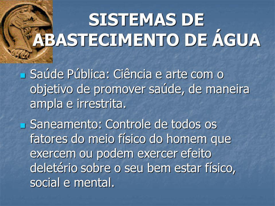 SISTEMAS DE ABASTECIMENTO DE ÁGUA Engenharia Sanitária: Campo da engenharia relativo às obras de saneamento.