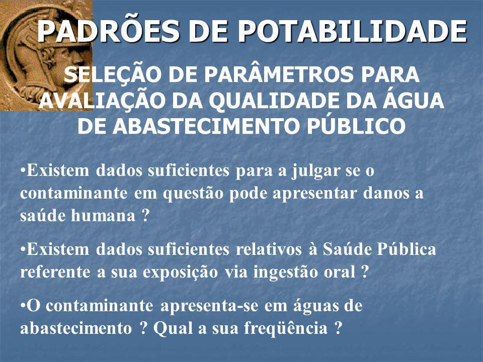 PADRÕES DE POTABILIDADE SELEÇÃO DE PARÂMETROS PARA AVALIAÇÃO DA QUALIDADE DA ÁGUA DE ABASTECIMENTO PÚBLICO Existem dados suficientes para a julgar se