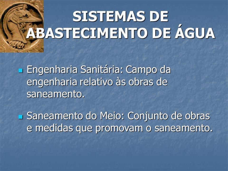 SISTEMAS DE ABASTECIMENTO DE ÁGUA Engenharia Sanitária: Campo da engenharia relativo às obras de saneamento. Engenharia Sanitária: Campo da engenharia
