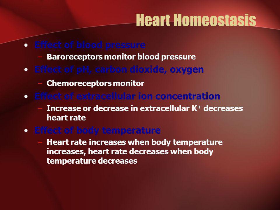 Heart Homeostasis Effect of blood pressure –Baroreceptors monitor blood pressure Effect of pH, carbon dioxide, oxygen –Chemoreceptors monitor Effect o