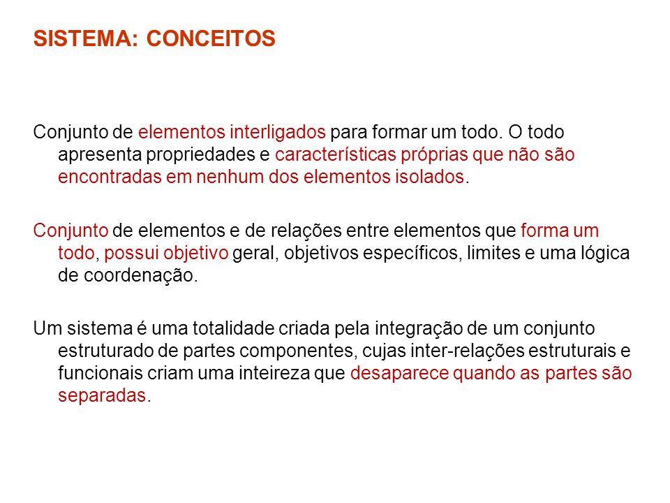 SISTEMA: CONCEITOS Conjunto de elementos interligados para formar um todo. O todo apresenta propriedades e características próprias que não são encont