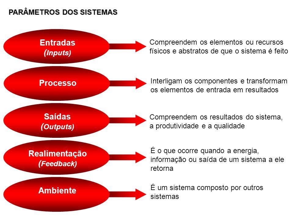 PARÂMETROS DOS SISTEMAS Entradas ( Inputs) Compreendem os elementos ou recursos físicos e abstratos de que o sistema é feito Saídas ( Outputs) Compree