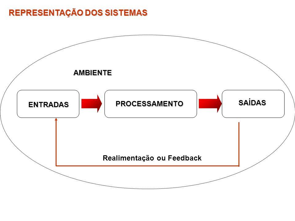 Realimentação ou Feedback REPRESENTAÇÃO DOS SISTEMAS ENTRADAS PROCESSAMENTO SAÍDASAMBIENTE