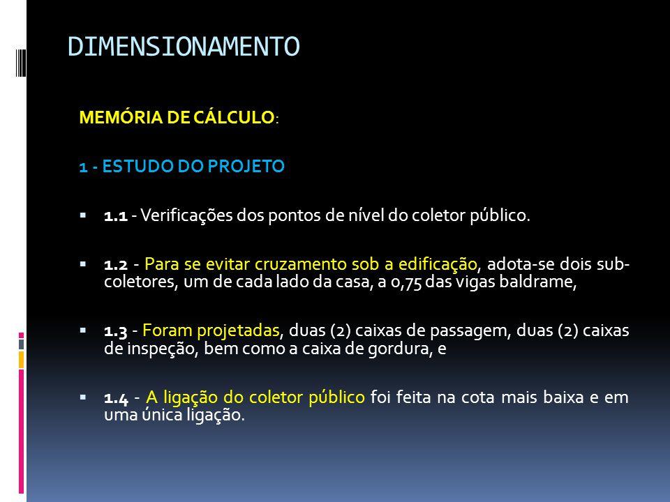 DIMENSIONAMENTO MEMÓRIA DE CÁLCULO: 1 - ESTUDO DO PROJETO  1.1 - Verificações dos pontos de nível do coletor público.
