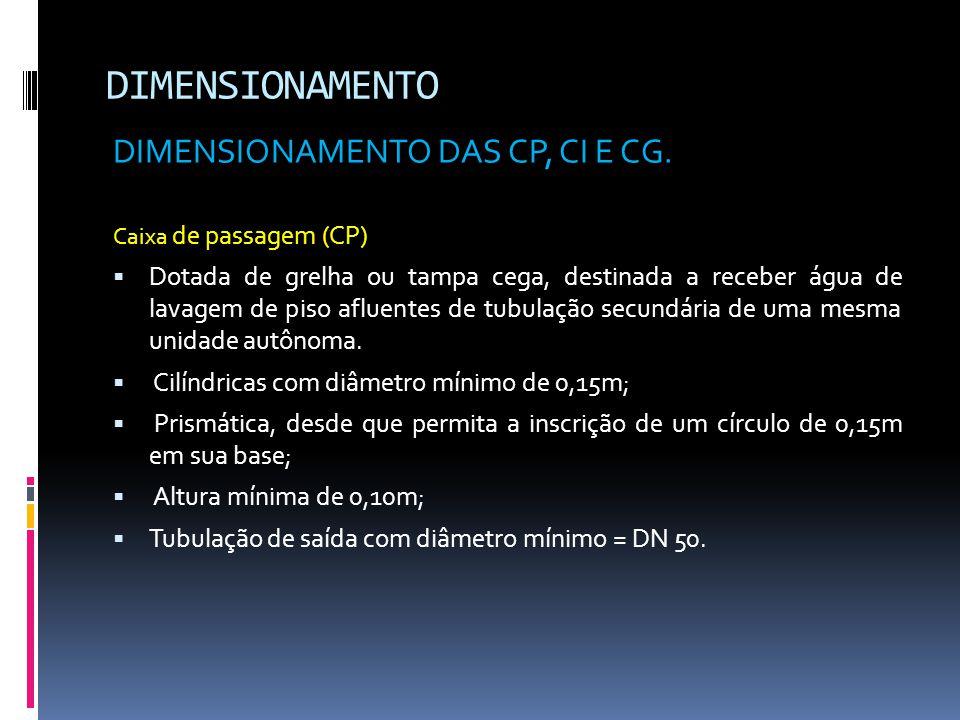 DIMENSIONAMENTO DIMENSIONAMENTO DAS CP, CI E CG.