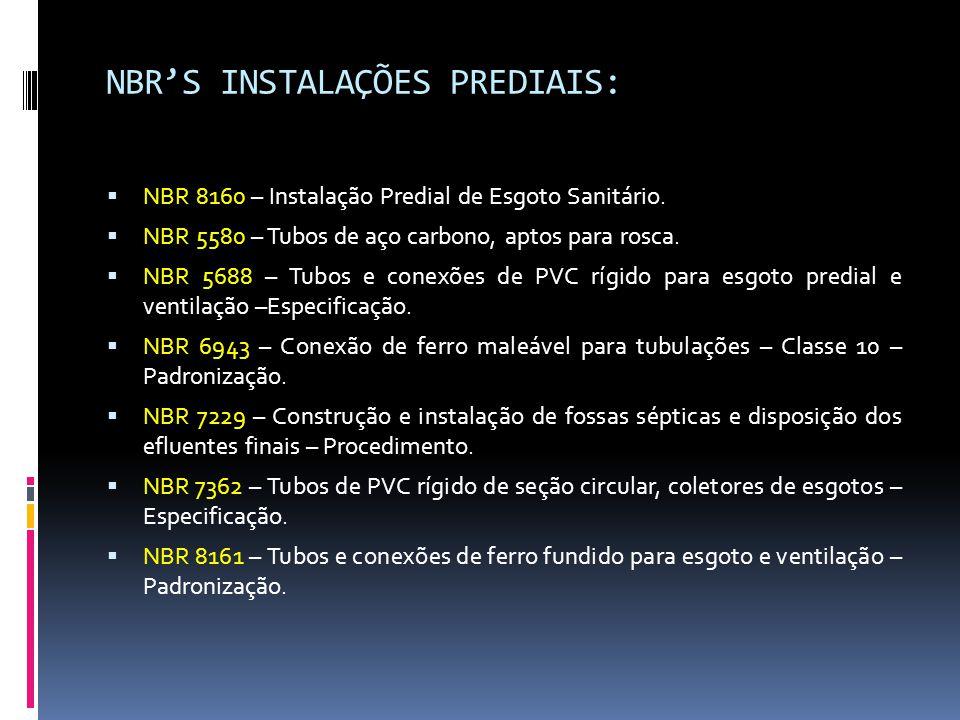 NBR'S INSTALAÇÕES PREDIAIS:  NBR 8160 – Instalação Predial de Esgoto Sanitário.