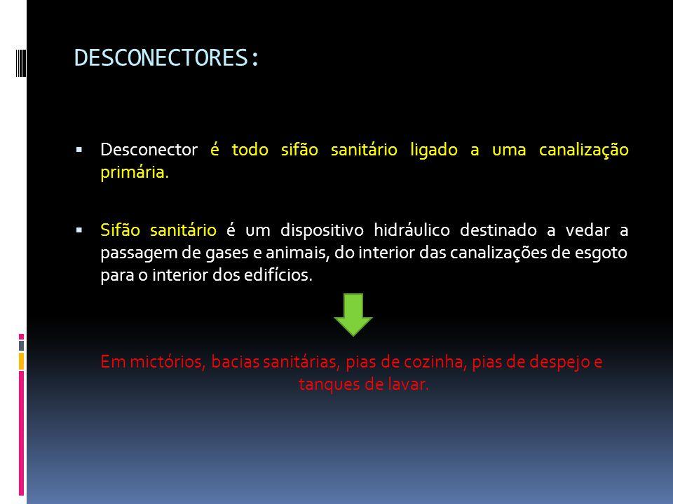 DESCONECTORES:  Desconector é todo sifão sanitário ligado a uma canalização primária.