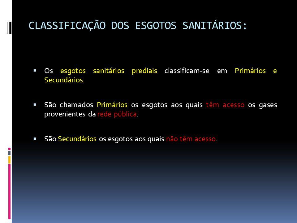 CLASSIFICAÇÃO DOS ESGOTOS SANITÁRIOS:  Os esgotos sanitários prediais classificam-se em Primários e Secundários.