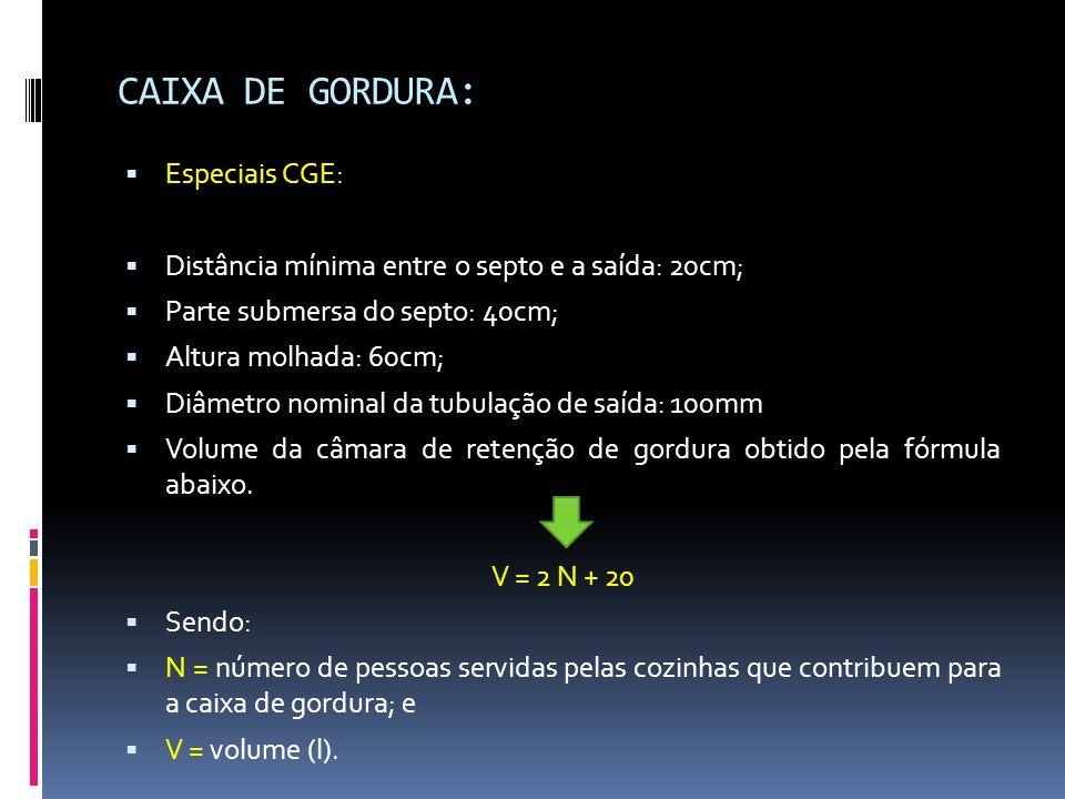 CAIXA DE GORDURA:  Especiais CGE:  Distância mínima entre o septo e a saída: 20cm;  Parte submersa do septo: 40cm;  Altura molhada: 60cm;  Diâmetro nominal da tubulação de saída: 100mm  Volume da câmara de retenção de gordura obtido pela fórmula abaixo.