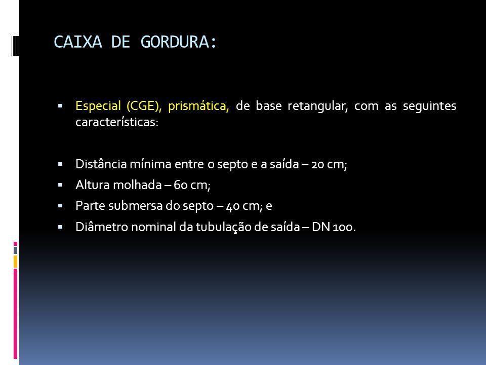 CAIXA DE GORDURA:  Especial (CGE), prismática, de base retangular, com as seguintes características:  Distância mínima entre o septo e a saída – 20 cm;  Altura molhada – 60 cm;  Parte submersa do septo – 40 cm; e  Diâmetro nominal da tubulação de saída – DN 100.