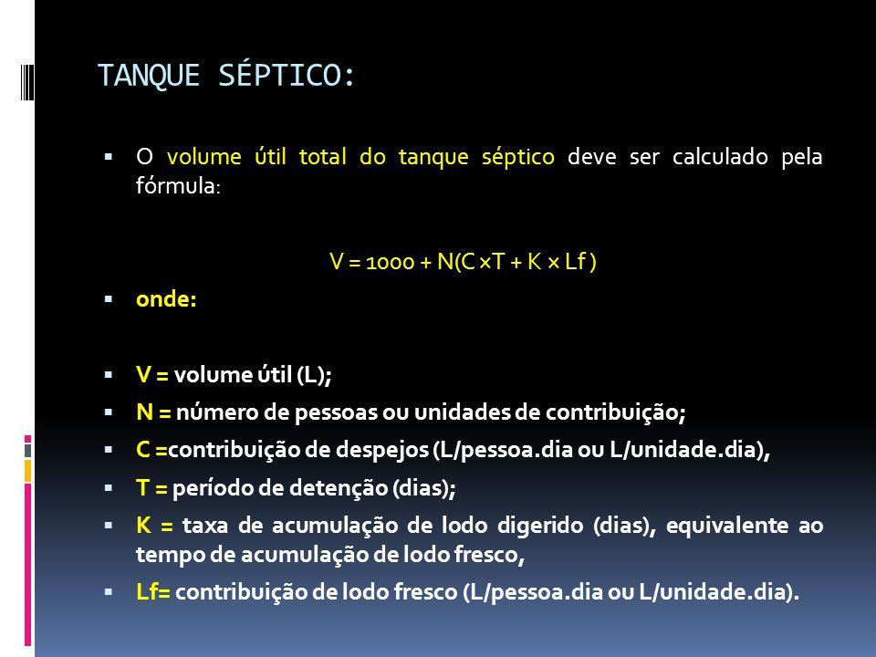TANQUE SÉPTICO:  O volume útil total do tanque séptico deve ser calculado pela fórmula: V = 1000 + N(C ×T + K × Lf )  onde:  V = volume útil (L);  N = número de pessoas ou unidades de contribuição;  C =contribuição de despejos (L/pessoa.dia ou L/unidade.dia),  T = período de detenção (dias);  K = taxa de acumulação de lodo digerido (dias), equivalente ao tempo de acumulação de lodo fresco,  Lf= contribuição de lodo fresco (L/pessoa.dia ou L/unidade.dia).