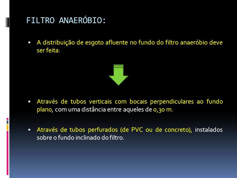 FILTRO ANAERÓBIO:  A distribuição de esgoto afluente no fundo do filtro anaeróbio deve ser feita:  Através de tubos verticais com bocais perpendiculares ao fundo plano, com uma distância entre aqueles de 0,30 m.