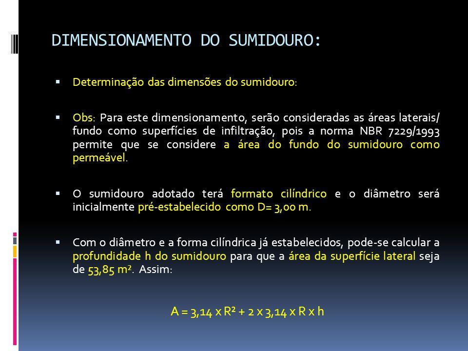 DIMENSIONAMENTO DO SUMIDOURO:  Determinação das dimensões do sumidouro:  Obs: Para este dimensionamento, serão consideradas as áreas laterais/ fundo como superfícies de infiltração, pois a norma NBR 7229/1993 permite que se considere a área do fundo do sumidouro como permeável.