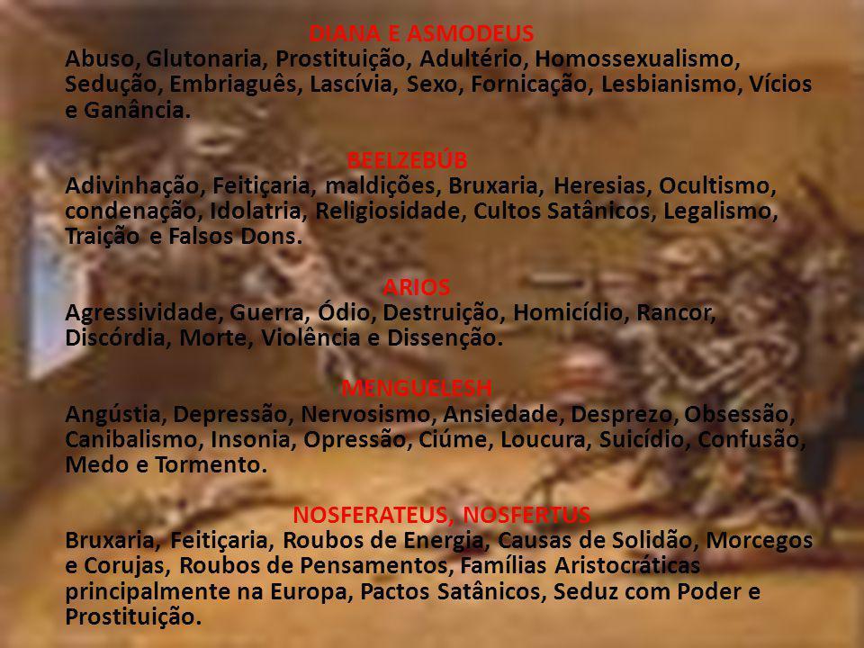 DIANA E ASMODEUS Abuso, Glutonaria, Prostituição, Adultério, Homossexualismo, Sedução, Embriaguês, Lascívia, Sexo, Fornicação, Lesbianismo, Vícios e G