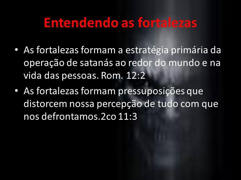 Entendendo as fortalezas As fortalezas formam a estratégia primária da operação de satanás ao redor do mundo e na vida das pessoas. Rom. 12:2 As forta