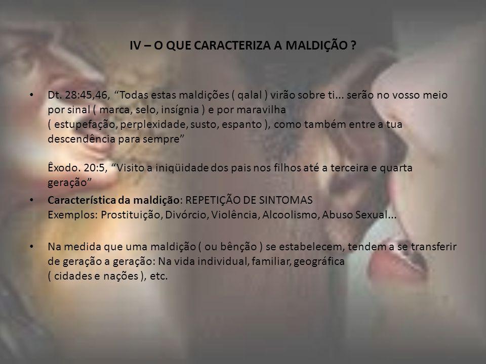 V – TIPOS DE MALDIÇÕES 1- Maldição Hereditária ( Êx.