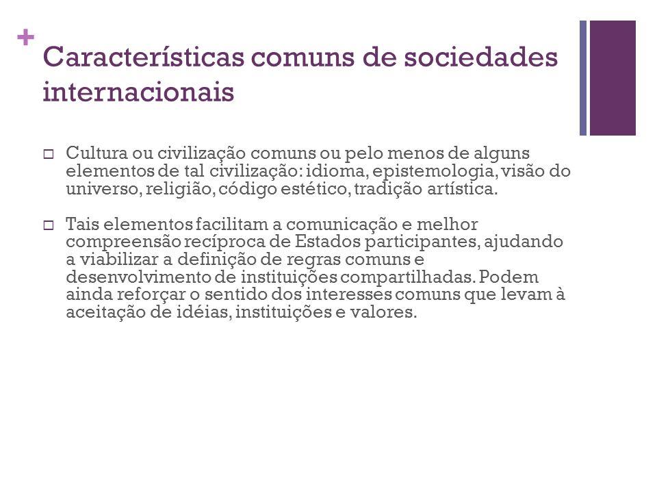 + Características comuns de sociedades internacionais  Cultura ou civilização comuns ou pelo menos de alguns elementos de tal civilização: idioma, epistemologia, visão do universo, religião, código estético, tradição artística.