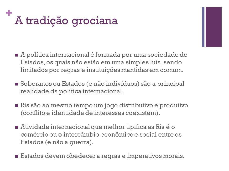 + A tradição grociana A política internacional é formada por uma sociedade de Estados, os quais não estão em uma simples luta, sendo limitados por regras e instituições mantidas em comum.
