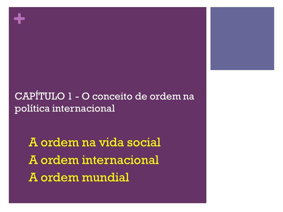+ CAPÍTULO 1 - O conceito de ordem na política internacional A ordem na vida social A ordem internacional A ordem mundial