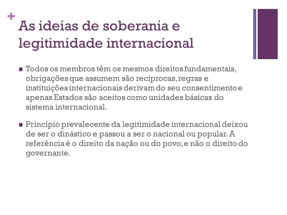 + As ideias de soberania e legitimidade internacional Todos os membros têm os mesmos direitos fundamentais, obrigações que assumem são recíprocas, regras e instituições internacionais derivam do seu consentimento e apenas Estados são aceitos como unidades básicas do sistema internacional.