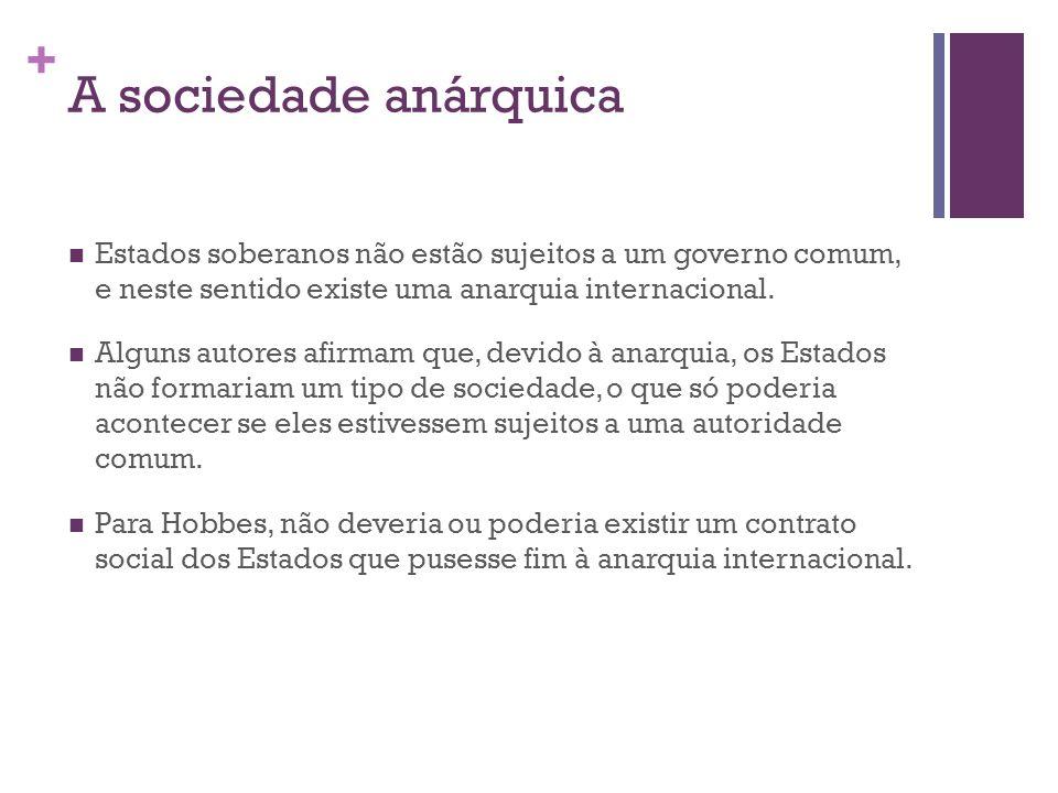 + A sociedade anárquica Estados soberanos não estão sujeitos a um governo comum, e neste sentido existe uma anarquia internacional.