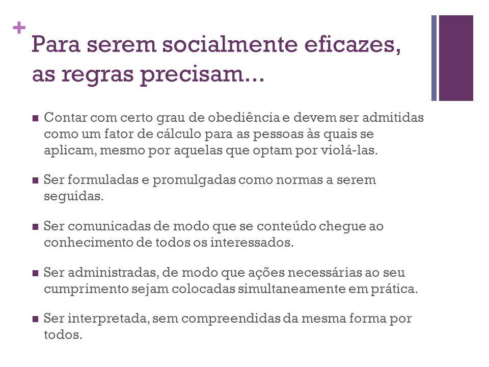 + Para serem socialmente eficazes, as regras precisam...