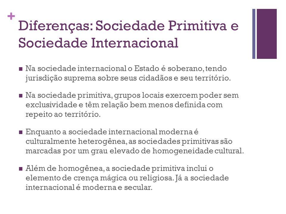 + Diferenças: Sociedade Primitiva e Sociedade Internacional Na sociedade internacional o Estado é soberano, tendo jurisdição suprema sobre seus cidadãos e seu território.
