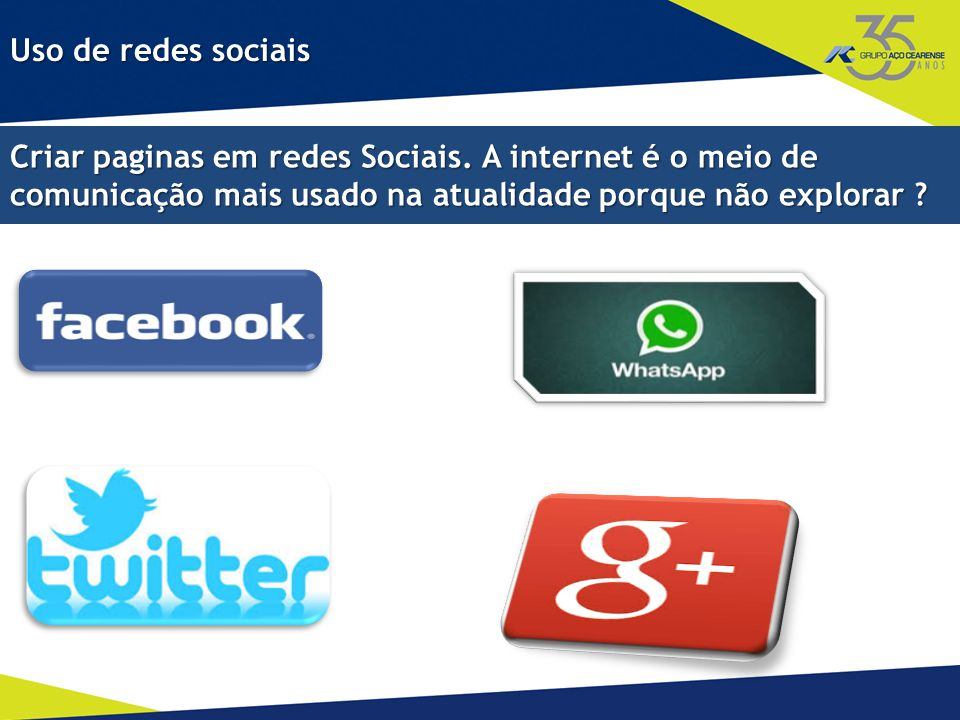 Criar paginas em redes Sociais.