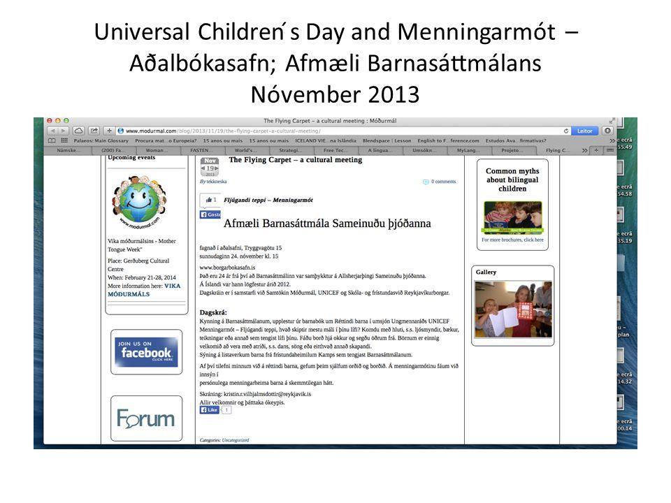 Universal Children ́s Day and Menningarmót – Aðalbókasafn; Afmæli Barnasáttmálans Nóvember 2013