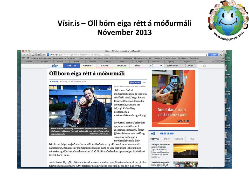 Vísir.is – Öll börn eiga rétt á móðurmáli Nóvember 2013