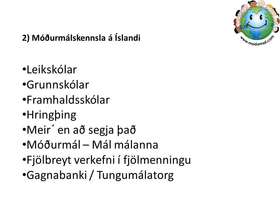 2) Móðurmálskennsla á Íslandi Leikskólar Grunnskólar Framhaldsskólar Hringþing Meir´ en að segja það Móðurmál – Mál málanna Fjölbreyt verkefni í fjölmenningu Gagnabanki / Tungumálatorg