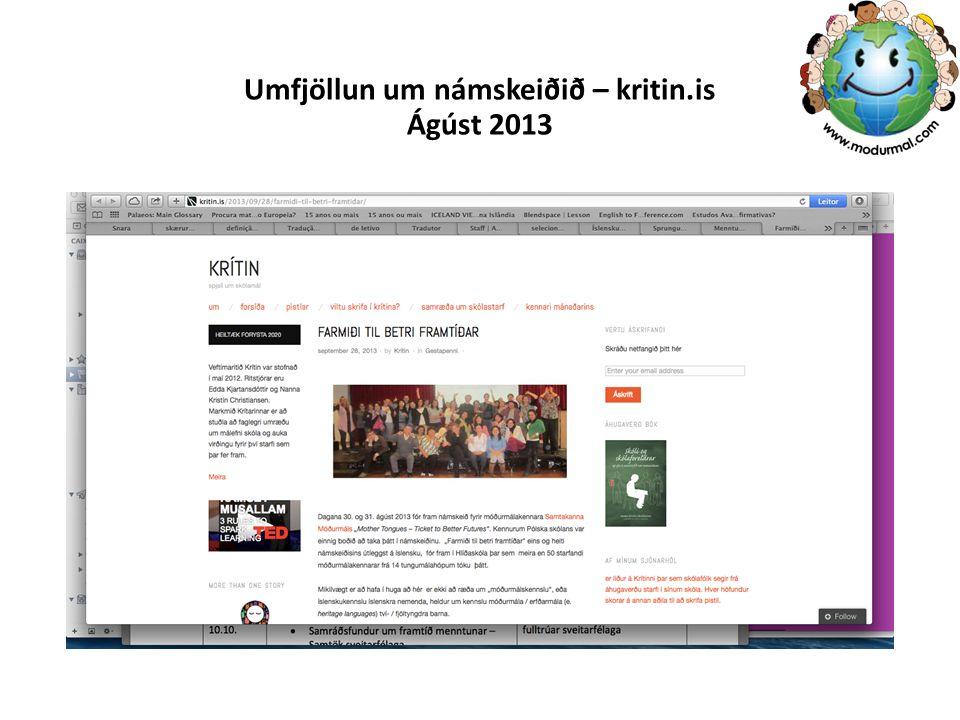 Umfjöllun um námskeiðið – kritin.is Ágúst 2013
