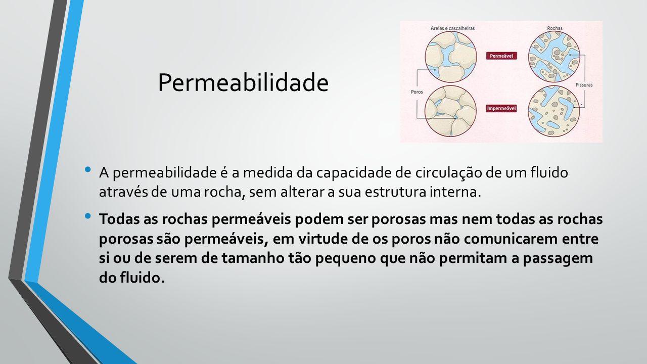 Permeabilidade A permeabilidade é a medida da capacidade de circulação de um fluido através de uma rocha, sem alterar a sua estrutura interna. Todas a