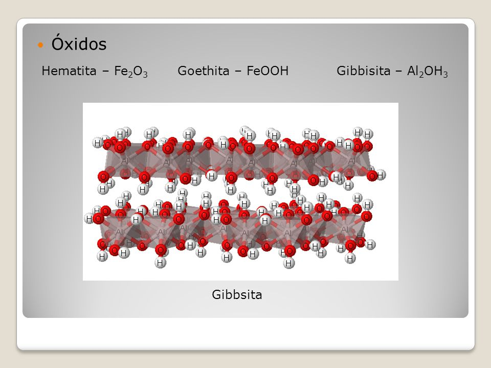 Óxidos Hematita – Fe 2 O 3 Goethita – FeOOH Gibbisita – Al 2 OH 3 Gibbsita