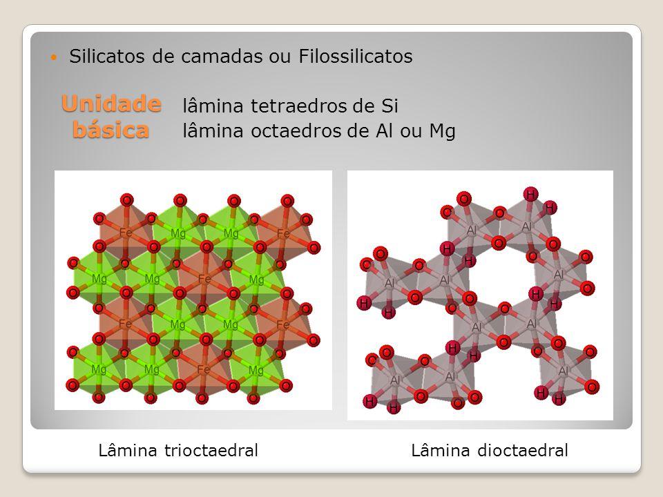 Unidade básica Silicatos de camadas ou Filossilicatos lâmina tetraedros de Si lâmina octaedros de Al ou Mg Lâmina trioctaedralLâmina dioctaedral