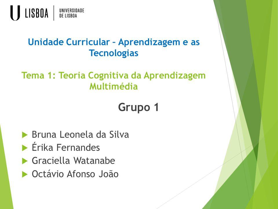 Unidade Curricular – Aprendizagem e as Tecnologias Tema 1: Teoria Cognitiva da Aprendizagem Multimédia Grupo 1  Bruna Leonela da Silva  Érika Fernan